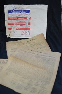 3 Documents Of Freedom on Parchment Paper Independence Hall PHIL Vintage 1956 2