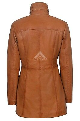 Ladies Leather Jacket Tan Gothic Style Fitted REAL LAMBSKIN COAT 1310 3
