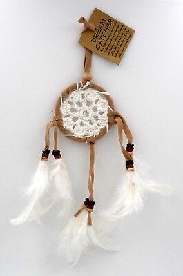 Attrape rêves amérindien en crochet blanc - idéal rétroviseur !