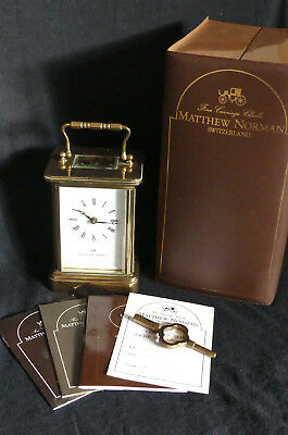 Classic Mathew Norman Brass 8 Day Carriage Clock Original Box and Documents 7