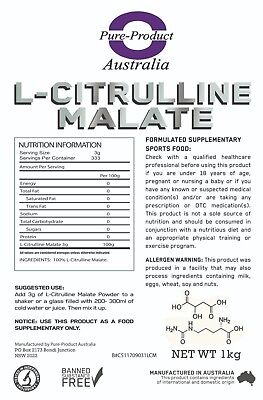 Pure L-Citrulline Malate - 1Kg Intra Workout Pump Muscle Builder Nitric Oxide 3