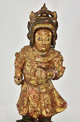 Antique Chinese Red & Gilt / Gilded Wooden Carved Statue, 19th c 3