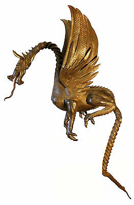 Rare Antique English Wrought Iron Pair Of Dragons Must See. 7
