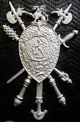 Hooded Knight with Fleur-Di-Lis,Plaque,Shield,Crest,Coat of Arms, Aluminum 11