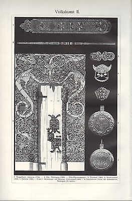 Licht-Druck 1909: Volkskunst. I/II. Gold Kunst-Handwerk Stickerei Schmuck