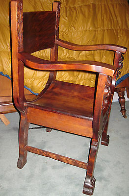 Antique  Wood Barrel Style Captains Chair Carved Old Man Winter Lion & Claw Feet 8