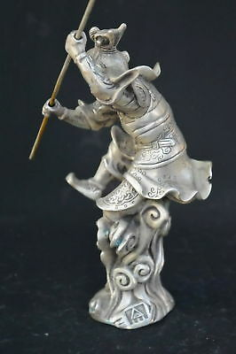 9.15Inch Chinese Ancient Tibet Silver Wear Robe Monkey King Gold Hoop Old Statue 7