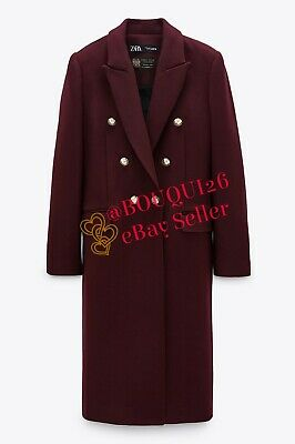 ZARA NWT DOUBLE BREASTED BUTTONED LONG WOOL BLEND COAT MAROON XS-XXL 3057//249