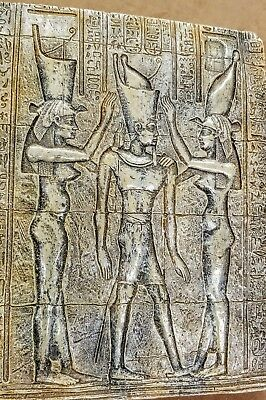 Ancient Egyptian Wall Tablet Plaque Ramses Tut Isis Anubis Horus 2