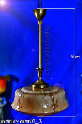 Stunning Art Deco marbled glass & brass Ceiling light Pendant Shade Chandelier 5