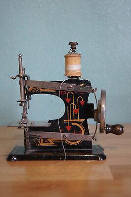 Kinder Nähmaschine Blechspielzeug Art Deco 20er Holz Garnrolle große Puppenstube