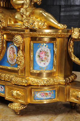 Large Antique French Ormolu And Sevres Porcelain Clock Cherubs Stunning 1850 9