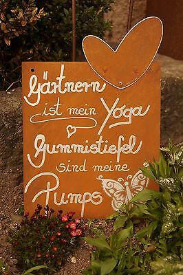Edelrost Gartenschild Mein Garten Spruchschild Wandtafel Metallschild Gartendeko