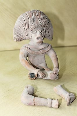 Vintage Art Pottery Pre-Columbian Male Sitting Figurine Statue Clay Old 10