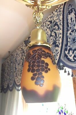 Vintage brass hanging light/fixture with Galle-style shades 4