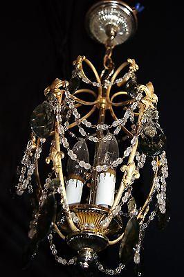 Vtg Deco Victorian Spain Boudoir Petite Brass Chandelier Fixture Smoked Crystals 7