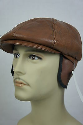 ... NEW 100% REAL LEATHER Gatsby Cap Mens Newsboy Ivy Hat Golf Driving Flat  Cabbie 6 a9769e50d3e5