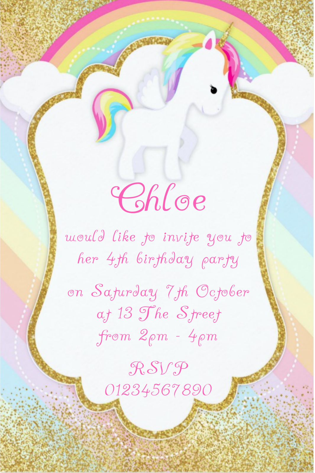 10 UNICORN PERSONALISED Birthday Party Invitations Or Thank Yous ...