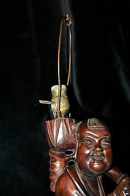 "Exclusive Large Antique Chinese Rosewood Carved Lamp Man with Bird 19th c 19""T 12"