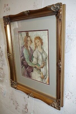 Vintage Gold Gilt Ornate Wood Picture Frame & Print ( Photo Painting ) 10