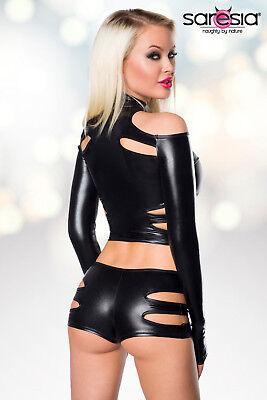 Sexy Wetlook Set Jacke + Hotpants Lederlook Gogo Erotik Schwarz XS S M L XL 4