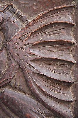 19C English Carved Oak Welsh Winged Dragon Griffin/Gargoyle/Shield 5