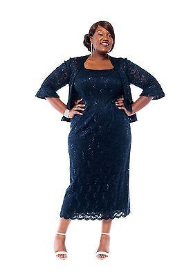 65bad389c90e7 ... 2 of 9 RM Richards Women s Plus Size Sequin Lace Mother of The Bride Jacket  Dress 3