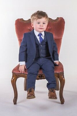 Boys Blue Suits Royal Blue Suit Navy Formal Wedding PageBoy Party Prom 5pc Suit 9