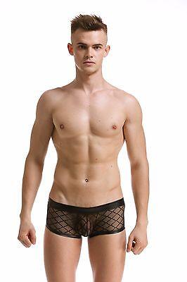 Slip Boxer Transparent Noir Filet Sexy Homme Viril Thong Man Underwear Mboer401 2
