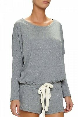EBERJEY Heather Gray Slouchy Tee loungewear top long sleeve drawstring 3