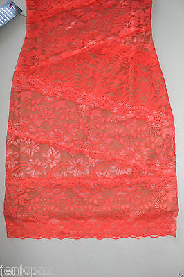 NWT Bebe coral pink lace dress one shoulder ivory overlay mixed vegas top XXS 0 3