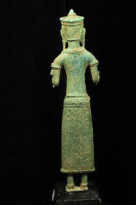 Rare Ancient Khmer Bronze Statue of Prajnaparamita 12th c Bayon Style Angkor Per 6