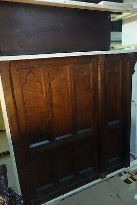 19C English Gothic Carved Tiger Oak Church Organ Wall Door&Original Hardware 11
