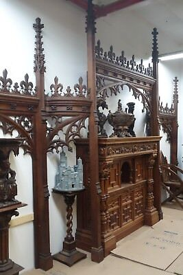 19C English Gothic Spire Curved/Carved Tiger Oak Church Organ Surround 3