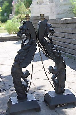 19C French Fantasy Gothic Carved Oak Lamps Griffin/Gargoyle/Dragon 8