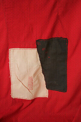 Antique Fabric Red & Black Polka dot French patched textile day bed canopy 8