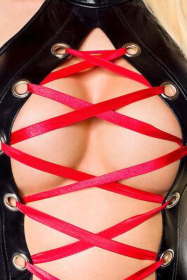 Sexy Wetlook Minikleid mit Schnürung Lederlook Gogo Erotik Schwarz XS S M L XL 4