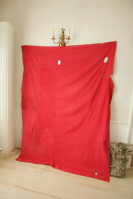 Antique Fabric Red & Black Polka dot French patched textile day bed canopy 4