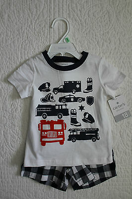 NEW BABY BOYS CARTERS 2 PIECE SET SHIRT SHORTS LITTLE SNAPPY CRAB IRRESISTIBLE