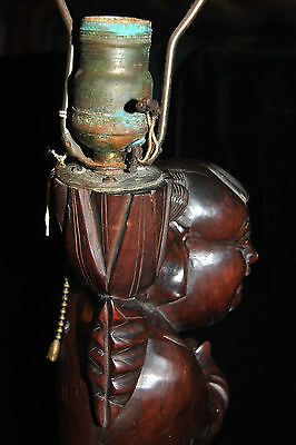 "Exclusive Large Antique Chinese Rosewood Carved Lamp Man with Bird 19th c 19""T 10"