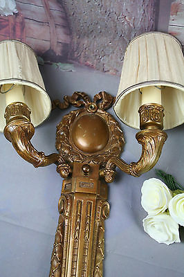 PAIR French Brass regency Bow sconces double arm 1930's wall lights 4