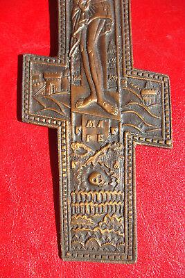 19th CENTURY ANTIQUE RARE RUSSIAN BEAUTIFULLY DETAILED ORTHODOX BRASS HOLY CROSS 7
