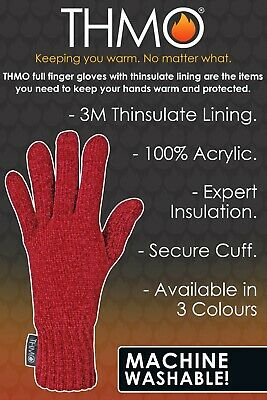 THMO - Ladies Outdoor Thermal Winter Chenille 3M 40 gram Thinsulate Lined Gloves 5