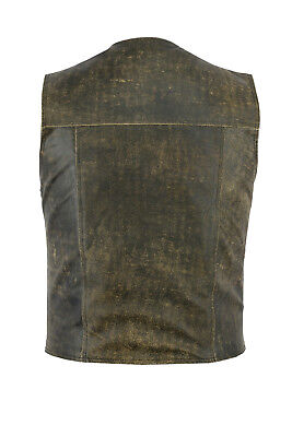 Biker Leather Waistcoat Distressed Brown Gladiator Motorcycle Club Cowhide Vest