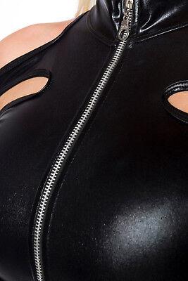 Sexy Wetlook Set Jacke + Hotpants Lederlook Gogo Erotik Schwarz XS S M L XL 3
