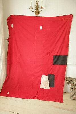Antique Fabric Red & Black Polka dot French patched textile day bed canopy 7
