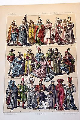 Antique MIDDLE AGES COSTUME Print by F. Hottenroth-1884 FRENCH 15th Century #2