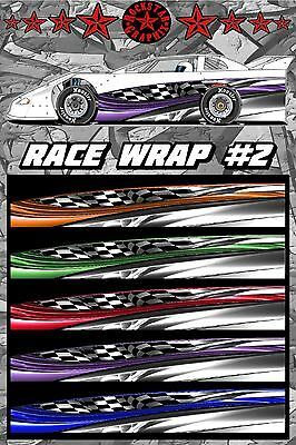 Half Wrap Vinyl Decal IMCA Late Model Dirt Trailer Truck RACE CAR GRAPHICS #37