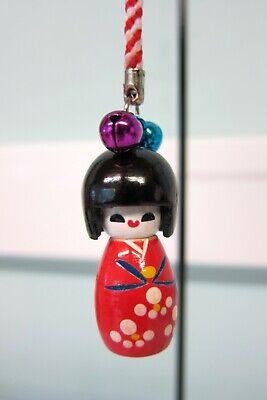 Keyring Dangle 6x Japanese Kokeshi Doll Painted Wooden Charm Mobile Phone Bag