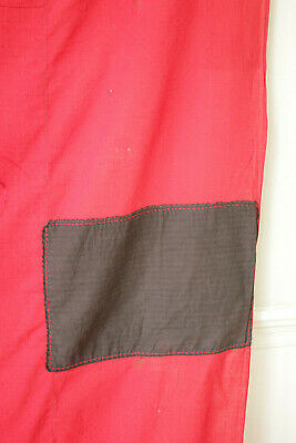 Antique Fabric Red & Black Polka dot French patched textile day bed canopy 11